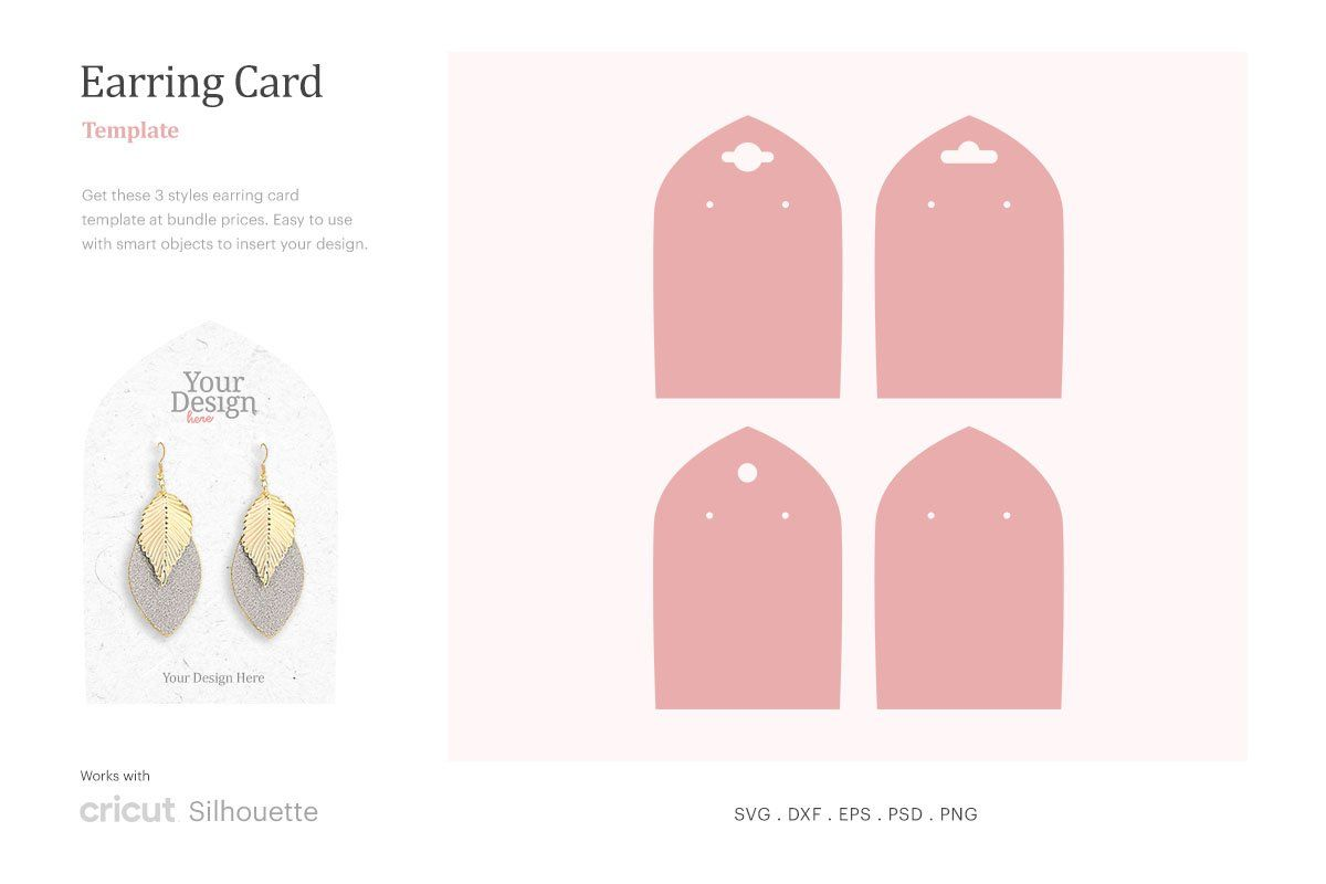 Earring Card Template Earring Card Svg Dangle Earring Card Holder Earring Display Svg Cricut Silhouet Earring Cards Template Card Template Earring Display