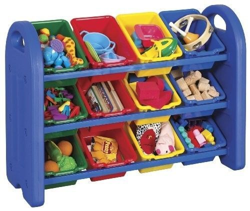 12 Bin Storage Organizer Toy Kids Playroom 3 Rack Preschool Kindergarten  Box New