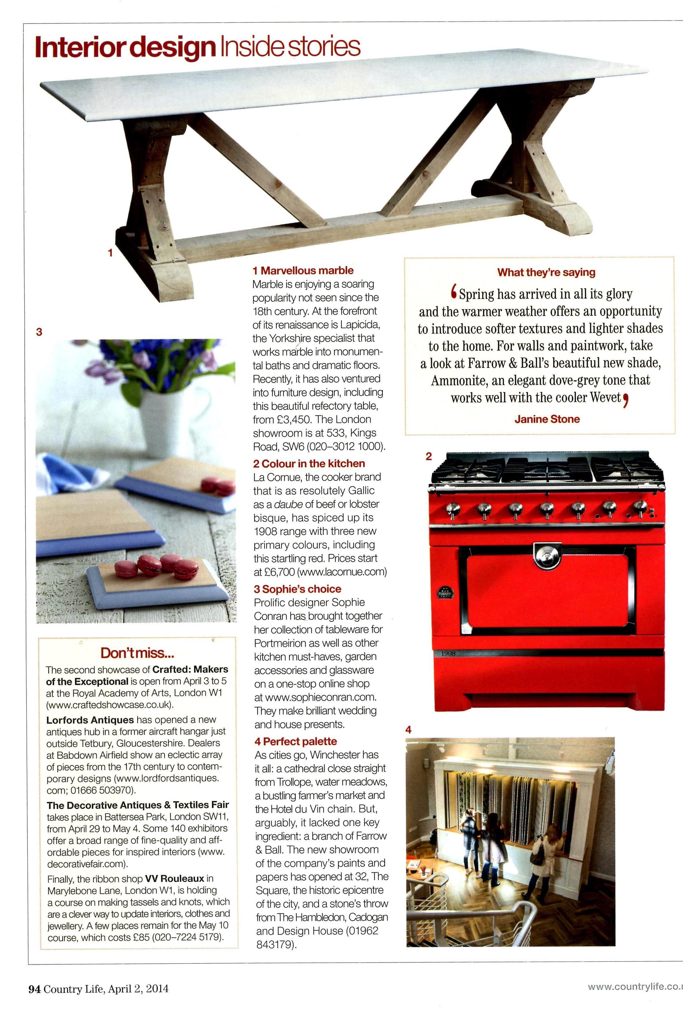 Colour in the kitchen: La Cornue 1908 range cooker in primary red www.lacornue.com/en Country Life April 2nd 2014