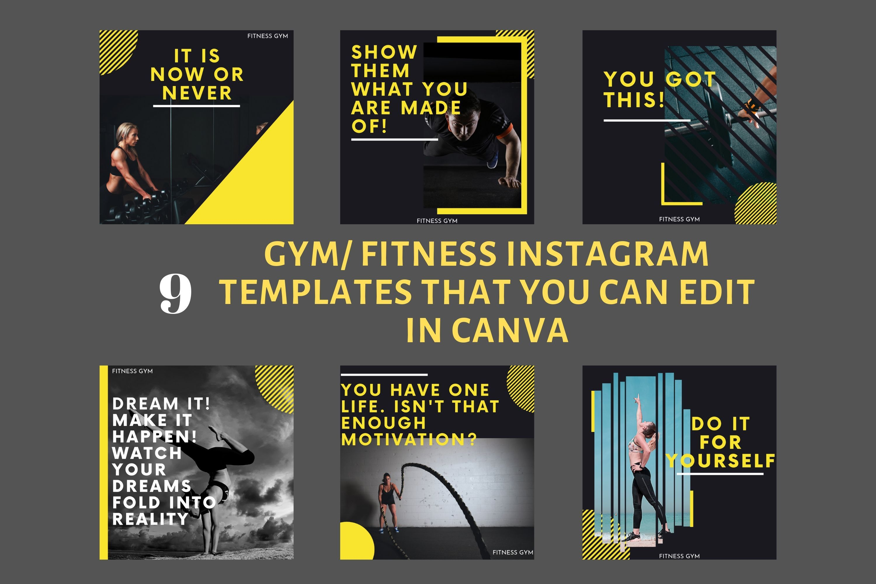 Gym Fitness Instagram Post Templates Fully Customizable And