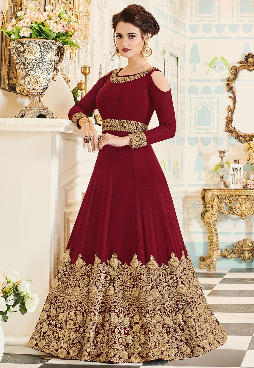 Buy embroidered georgette abaya style suit in maroon online item