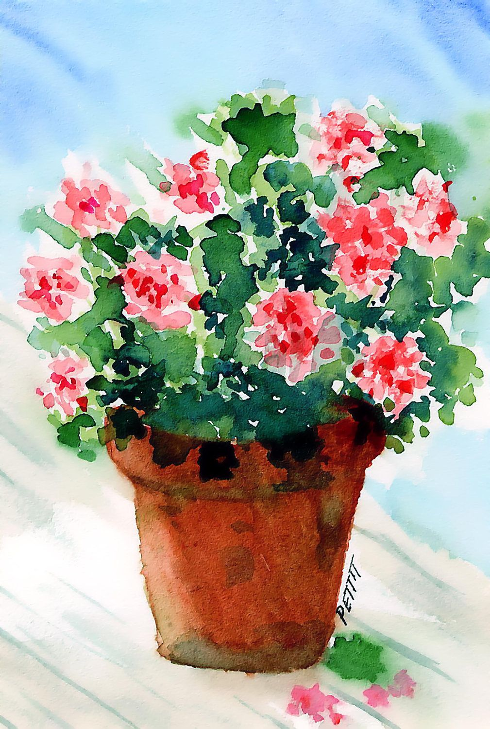 Geraniums Pink Clay Flower Pot Digital By Kryspettitartwork
