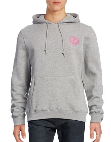 Stussy logo embroidered hoodie - Black