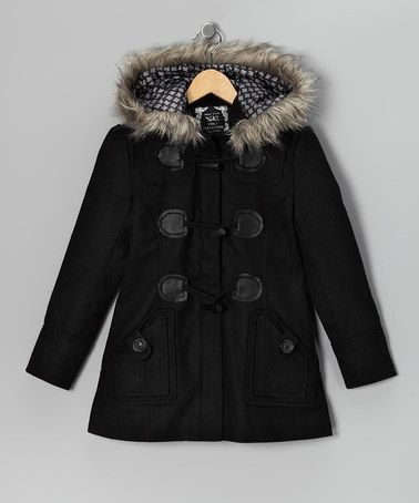 Take a look at this Black Faux Fur Toggle Coat by Yoki on #zulily today!