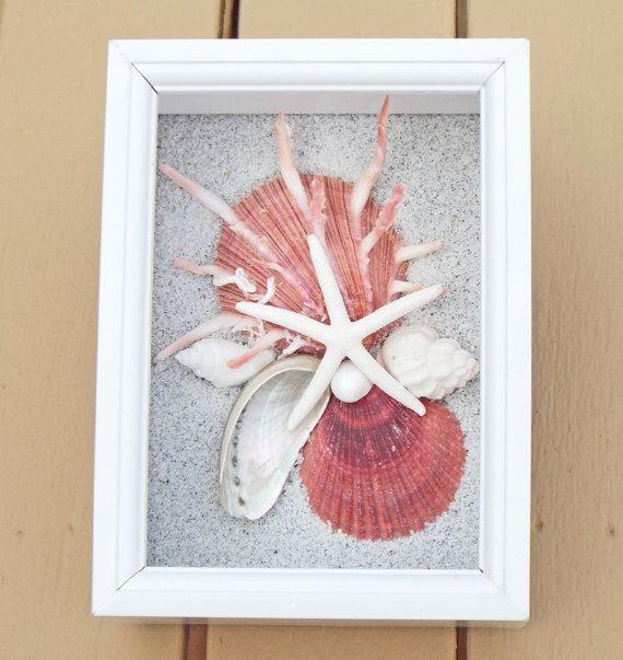 Beach Theme Home Decor Shadow Box Beach Gift: BEACH DECOR Seashell Collage Shadow Box, Deep Coral Color