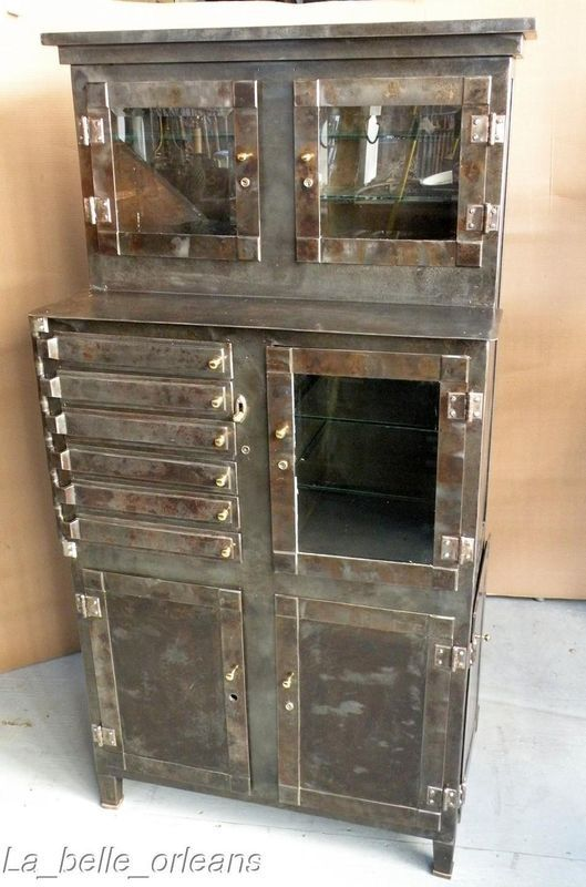 antique medical cabinet. ~ I wish I NEVER saw this. Now I'm on the prowl - Vintage Metal Steel Medical Aseptic Dental Cabinet Industrial