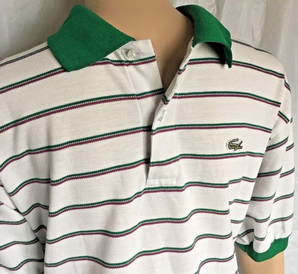 d84a35049 Vintage LACOSTE Polo Shirt Sz Medium STRIPED Green White Alligator Golf Men  K  Lacoste  PoloRugby
