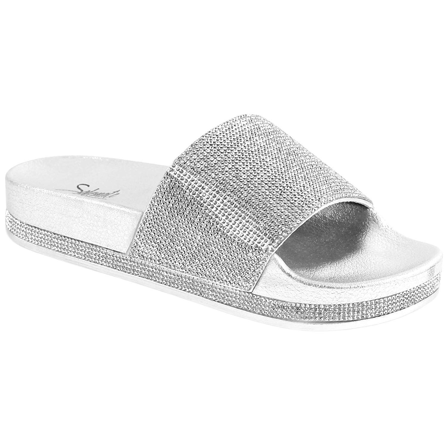eb8e98beaf4 Solemate Women s Rhinestone Glitter Crystal Slide Footbed Platform Sandal  Slippers     Very nice of you to have dropped by to see the photo.
