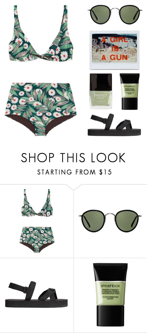 """""""BEACH"""" by arditach ❤ liked on Polyvore featuring Mara Hoffman, Oliver Peoples, H&M, Smashbox and Butter London"""