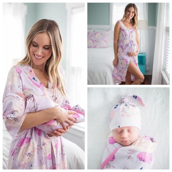 ca291184573 4 PC Set - Anais Floral Maternity Delivery Labor Nursing ROBE & Labor and Delivery  Gown + Swaddle Bl