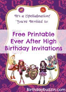 Free Printable Ever After High Birthday Invitations Spa Parties 7th Party