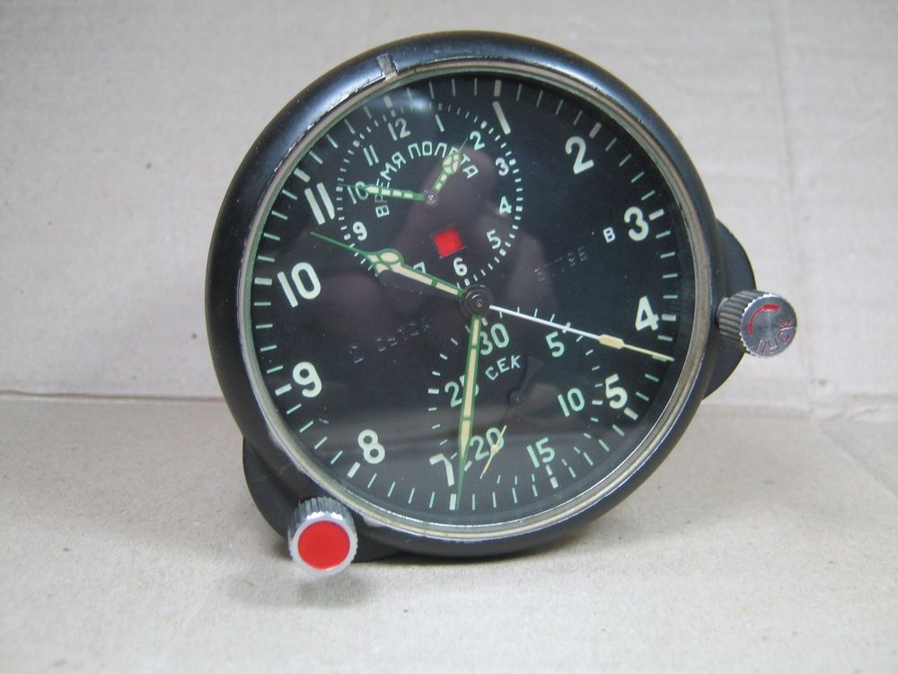 e7822d64e7c Vintage Soviet AChS 1 Aircraft Cockpit Clock Russian USSR Air Force MIG SU