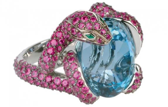 boucheron Python ring with a 15,64 carat aquamarines and 340 rubies set into blackened gold