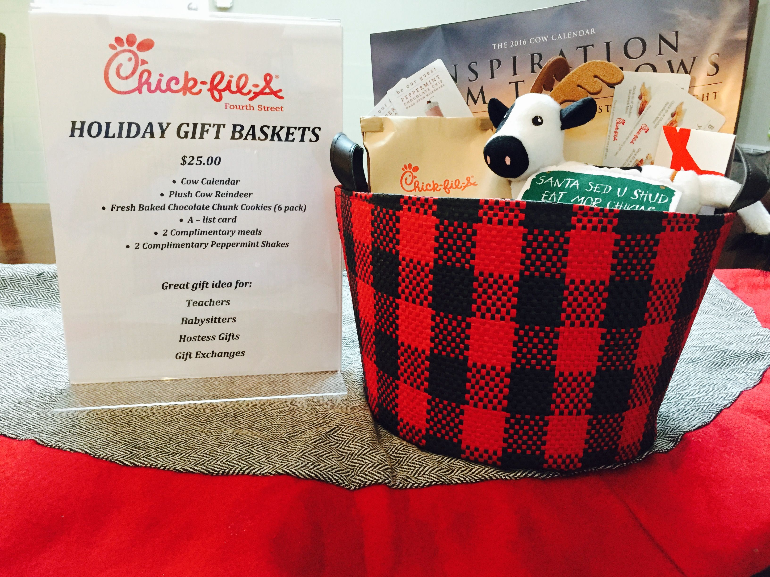 Holiday Gift Baskets At 4Th Street Chick Fil A Over $50 In