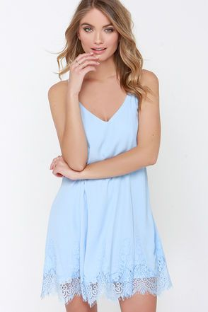 5a6cd97ad28 Highly Refined Light Blue Lace Shift Dress in 2019