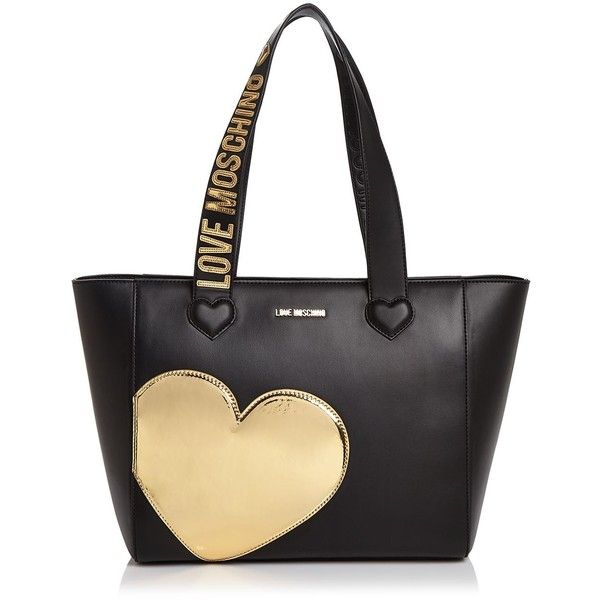 Love Moschino Metallic Heart Leather Tote (€220) ❤ liked on Polyvore featuring bags, handbags and tote bags