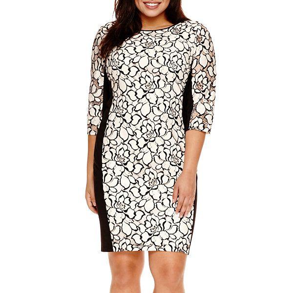befbe3b8532 Bisou Bisou® 3 4-Sleeve Floral Lace Sheath Dress - Plus - JCPenney ...