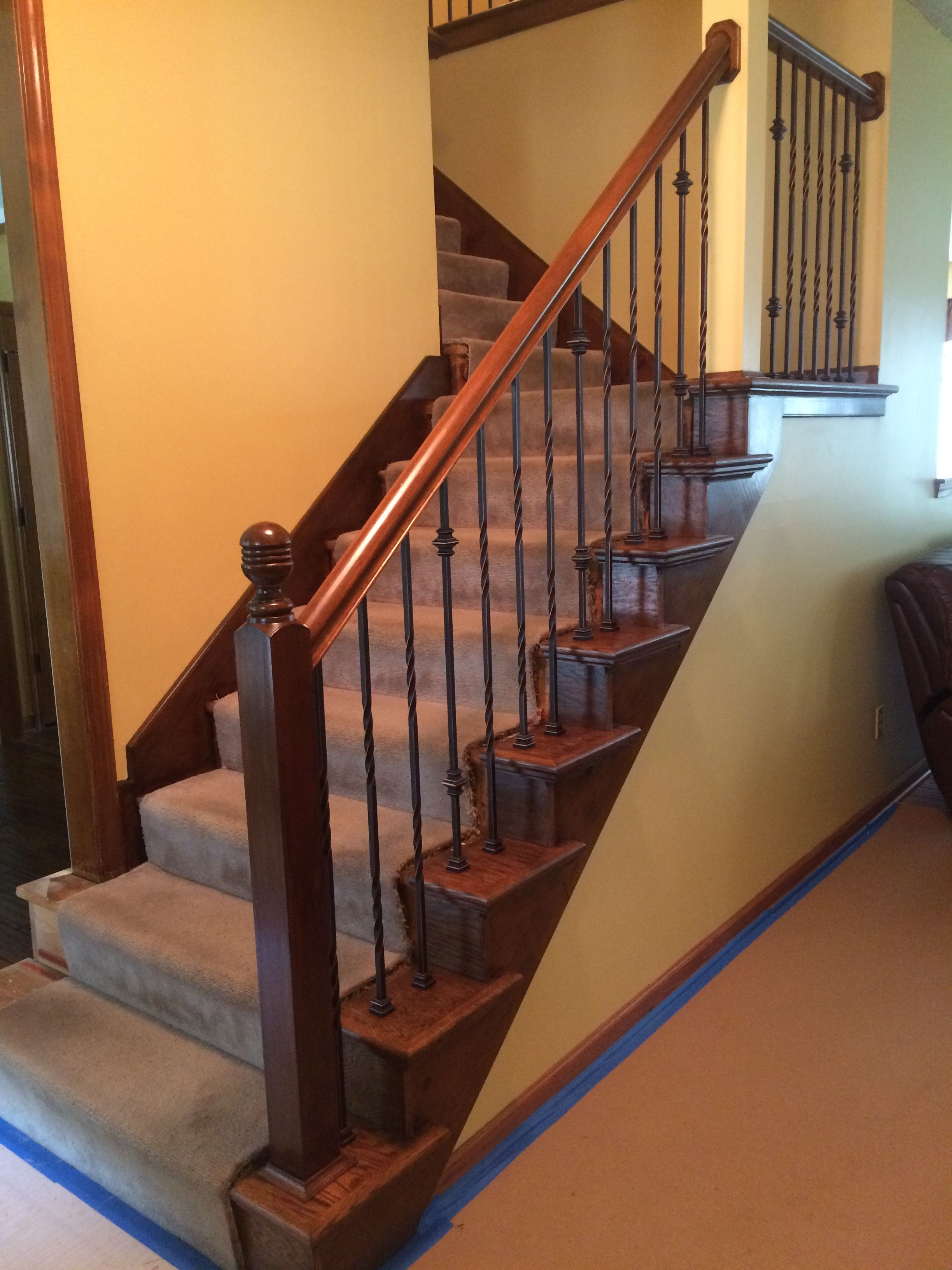 Best After Gel Stained Existing Handrail With Oak Stair Caps 400 x 300