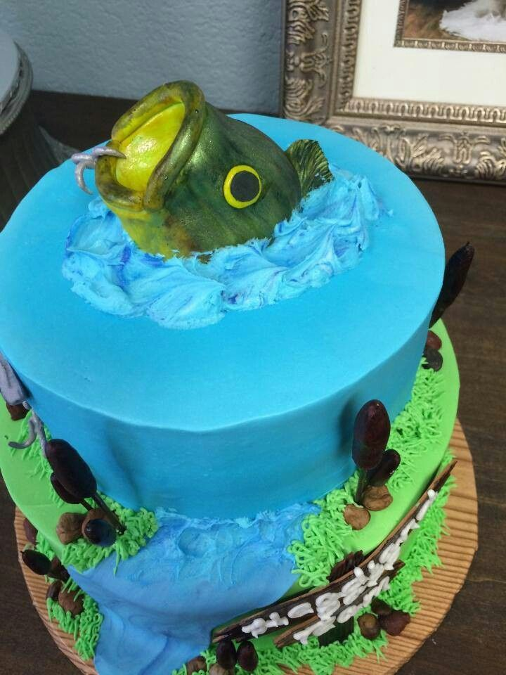 Bass fishing cake my cakes pinterest fishing cakes for Fishing cake ideas