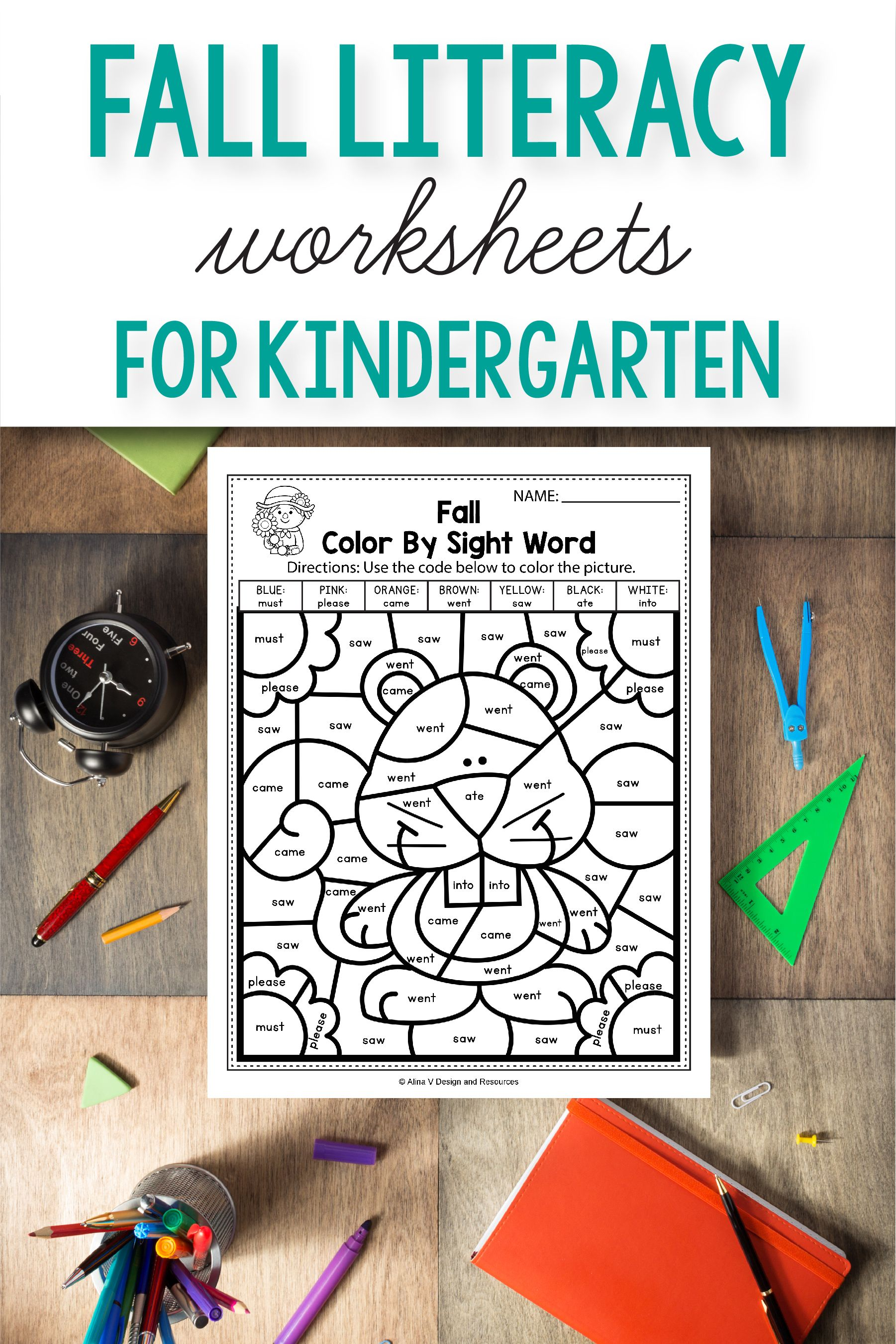 Fall Literacy Activities For Kindergarten 1st Grade And Preschool Is Fun With This Common Cores