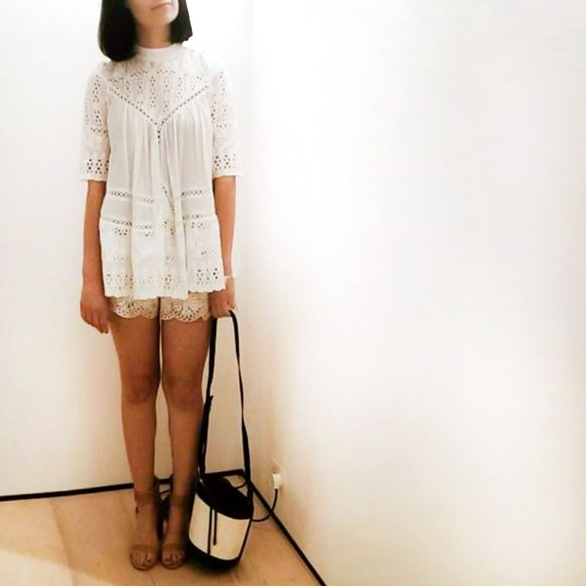 722ebcff08c Victoria in Zimmermann Doncaster store wears Porcelain Panelled Smock and  Confetti Scallop Playsuit.