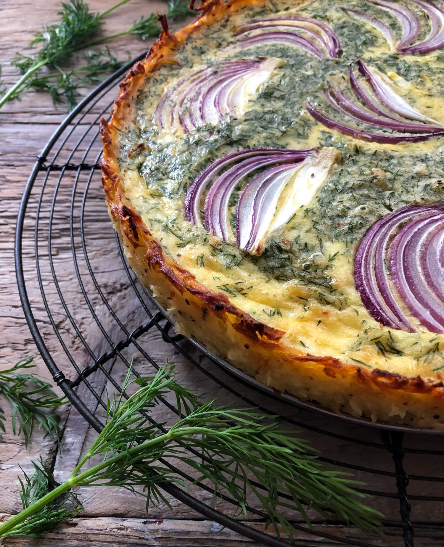 Goat Cheese and Dill Quiche in a Hash Brown Crust Recipe