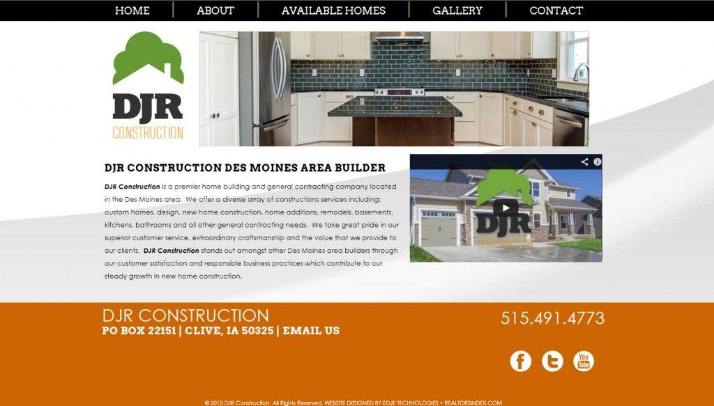 DJR Construction, Des Moines, Iowa Area Builder, simple website design, orange, grey, contemporary website design.