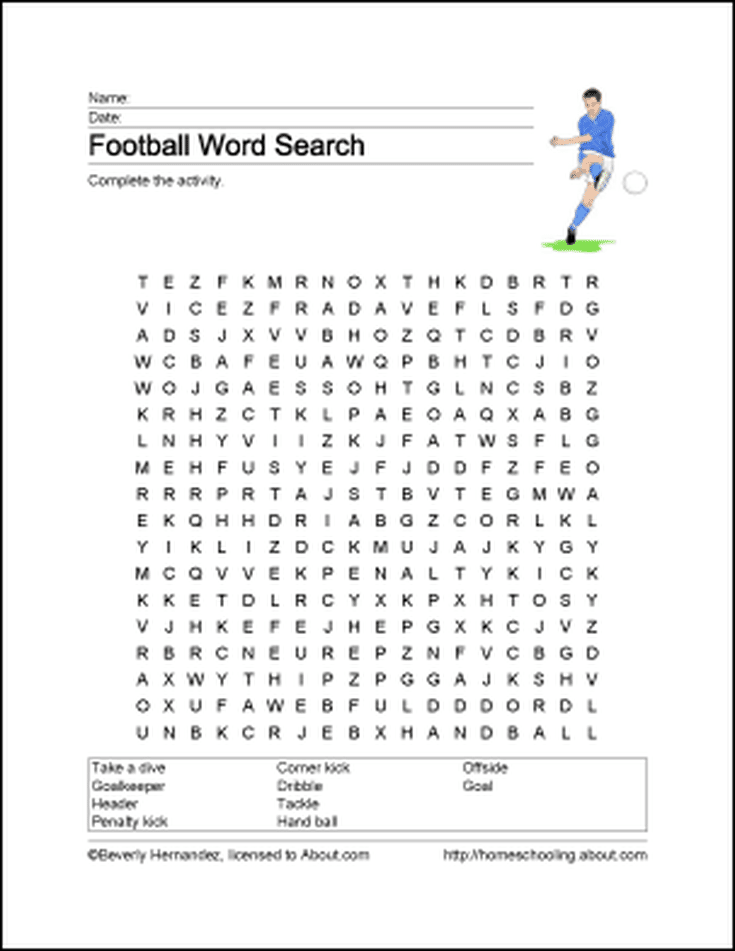 Football Printables To Teach Students About The Greatest Show On Turf Football Printables Football Word Search Football