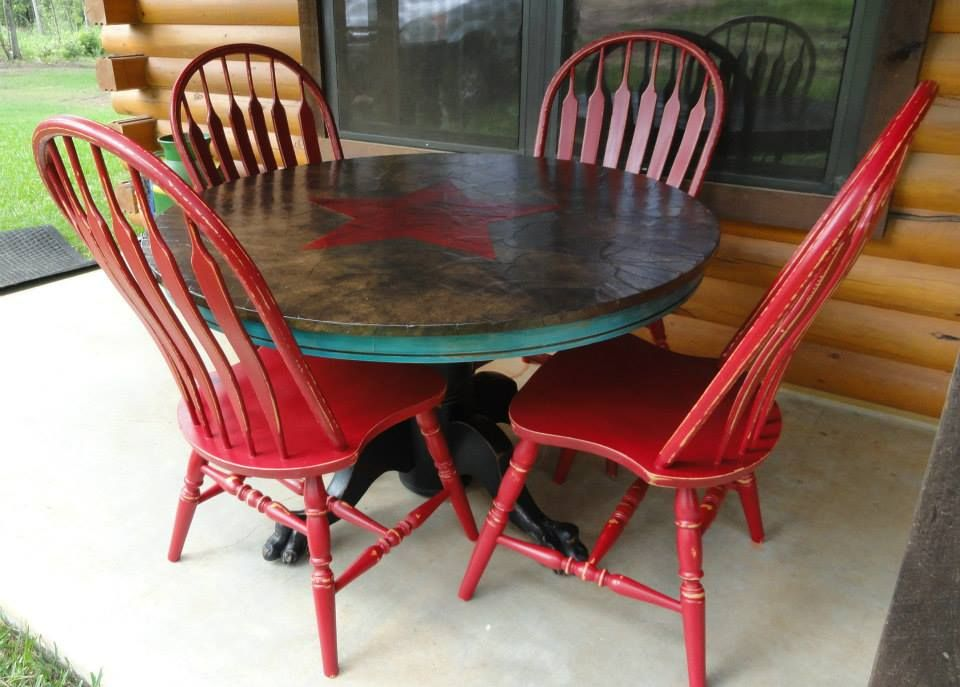 A Very Colorful Dining Set Painted In Red Black And Turqoise