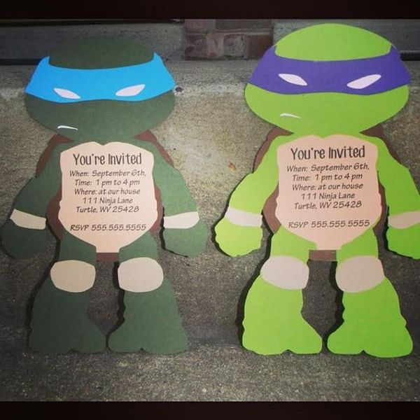teenage mutant ninja turtles diy invitations party pinterest einladung kindergeburtstag. Black Bedroom Furniture Sets. Home Design Ideas
