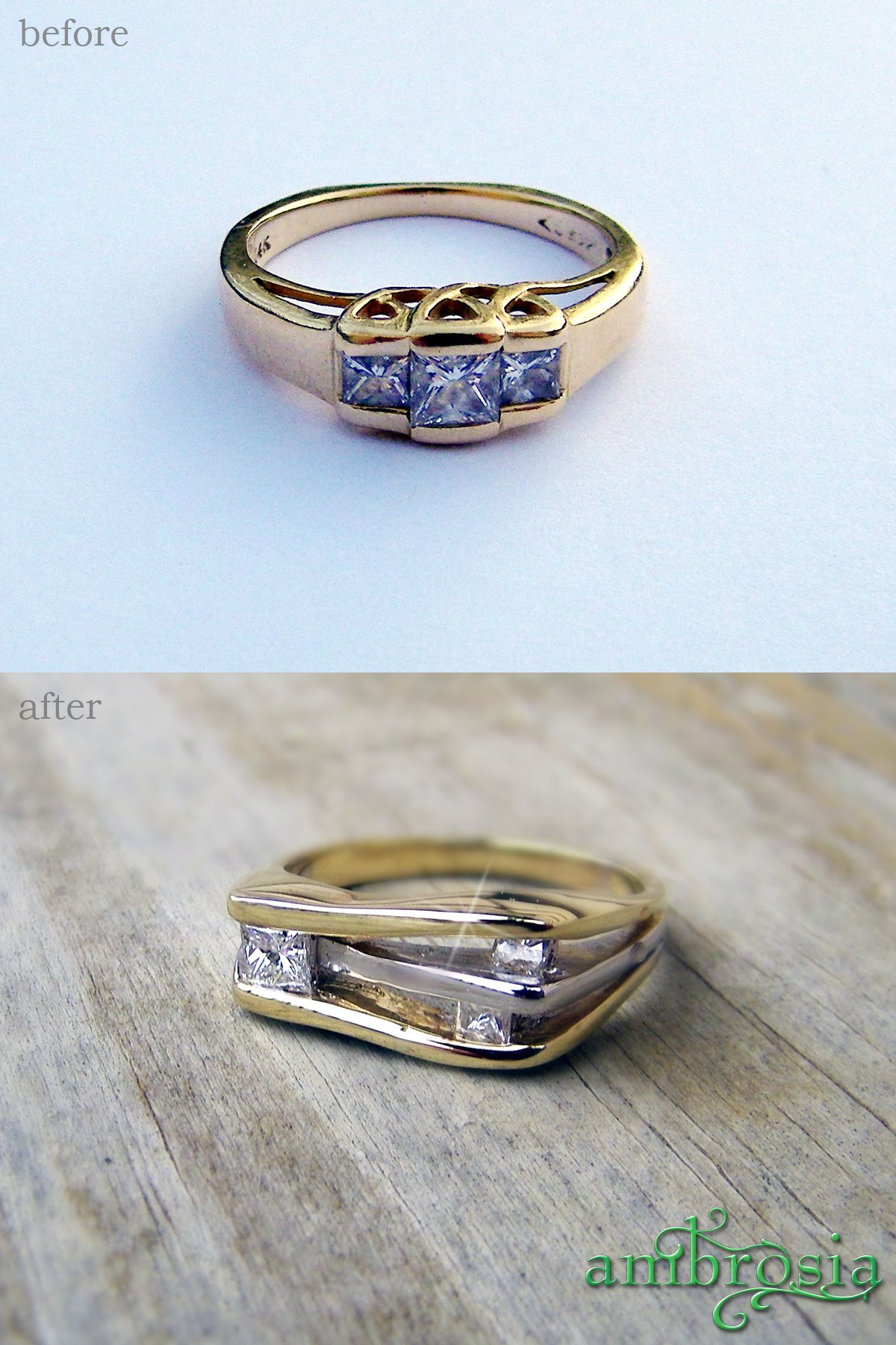 Her mothers wedding ring was redesigned into a new ring that fit