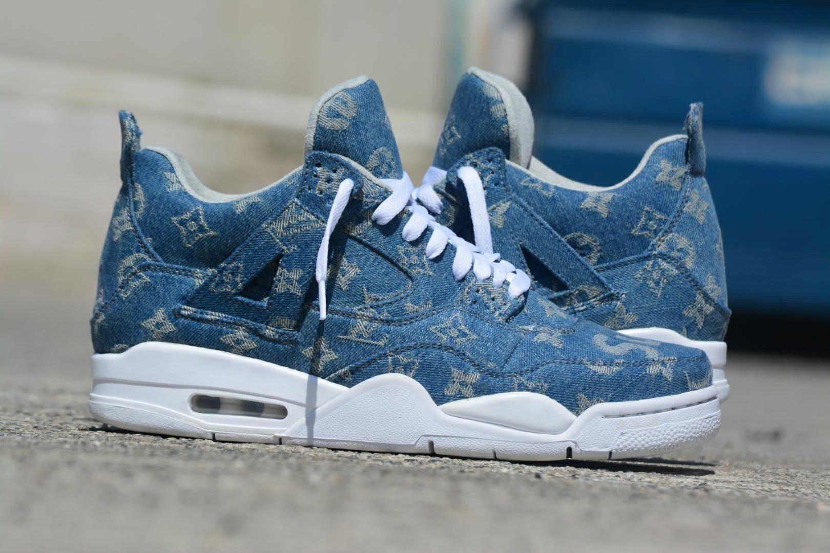 Nike LV Supreme Denim Jordan 4 Custom