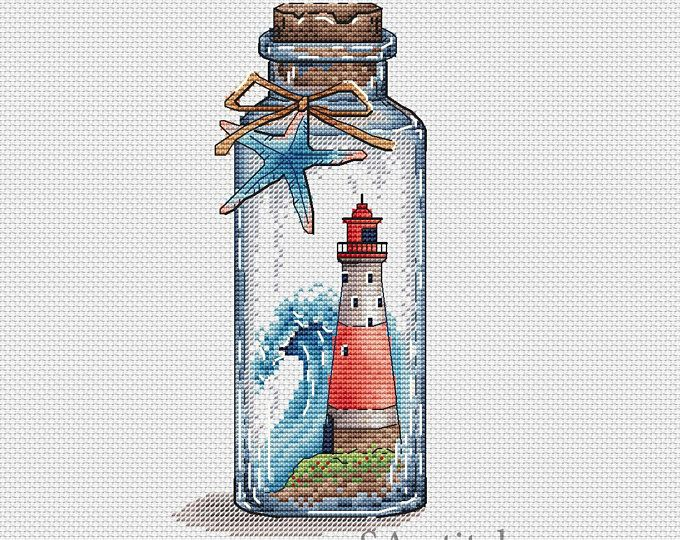 "Photo of Cross Stitch Pattern ""Lighthouse with poppies"" PDF Instant Download Pattern Xstitch Cute Cross Stitch Embroidery"