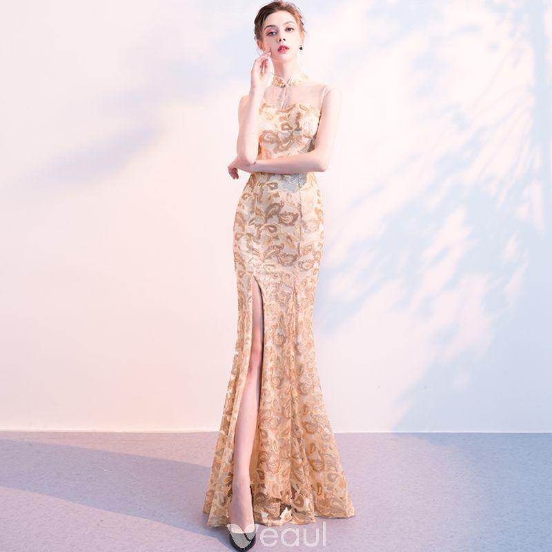 b16244f046f338 Chinese style Champagne Evening Dresses 2018 Trumpet   Mermaid Sequins  Rhinestone High Neck Sleeveless Floor-Length   Long Formal Dresses
