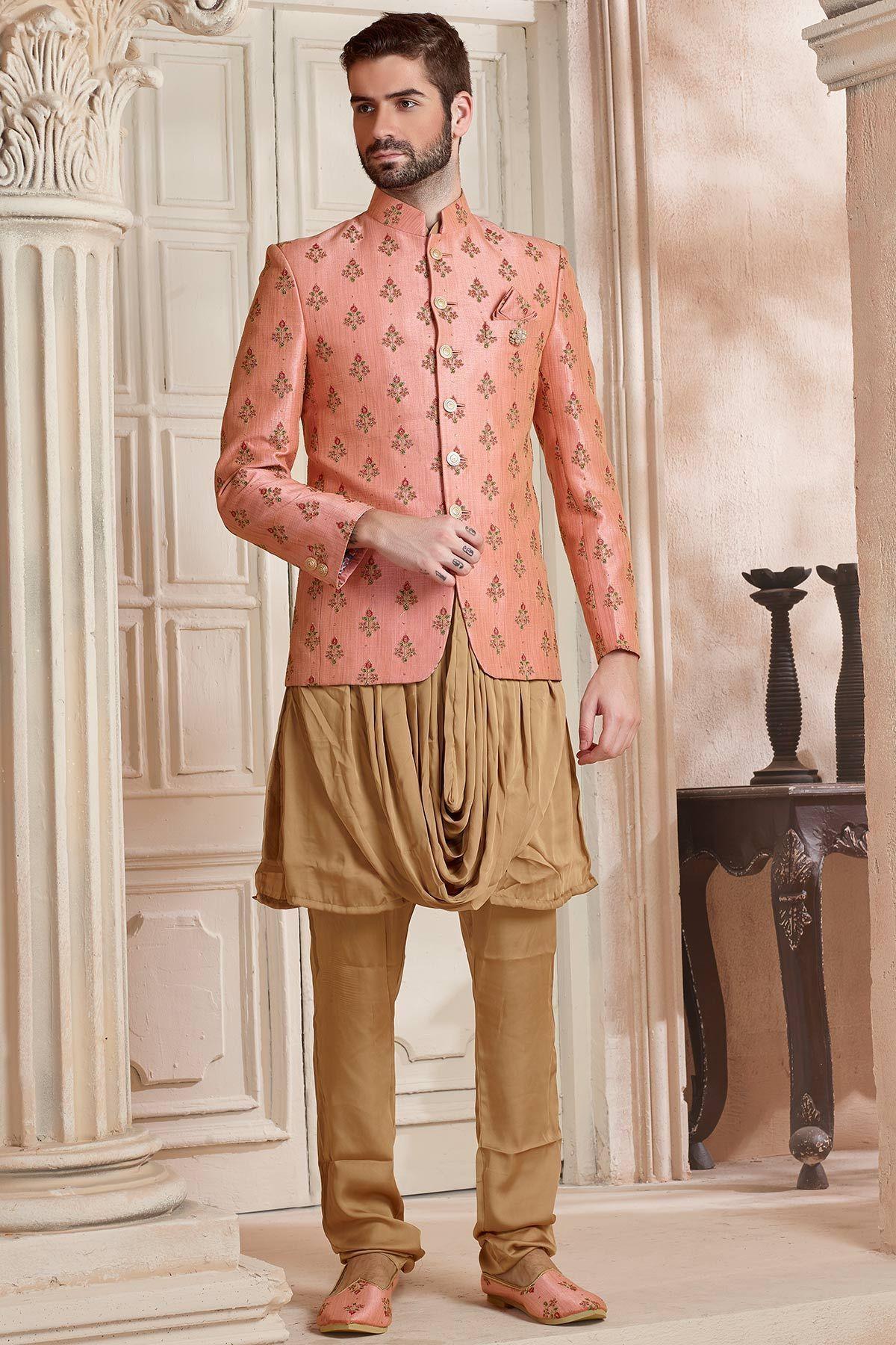 237a9158ff Peach Resham Embroidered Raw silk Jodhpuri Suit-ST872 | Men's Wear ...