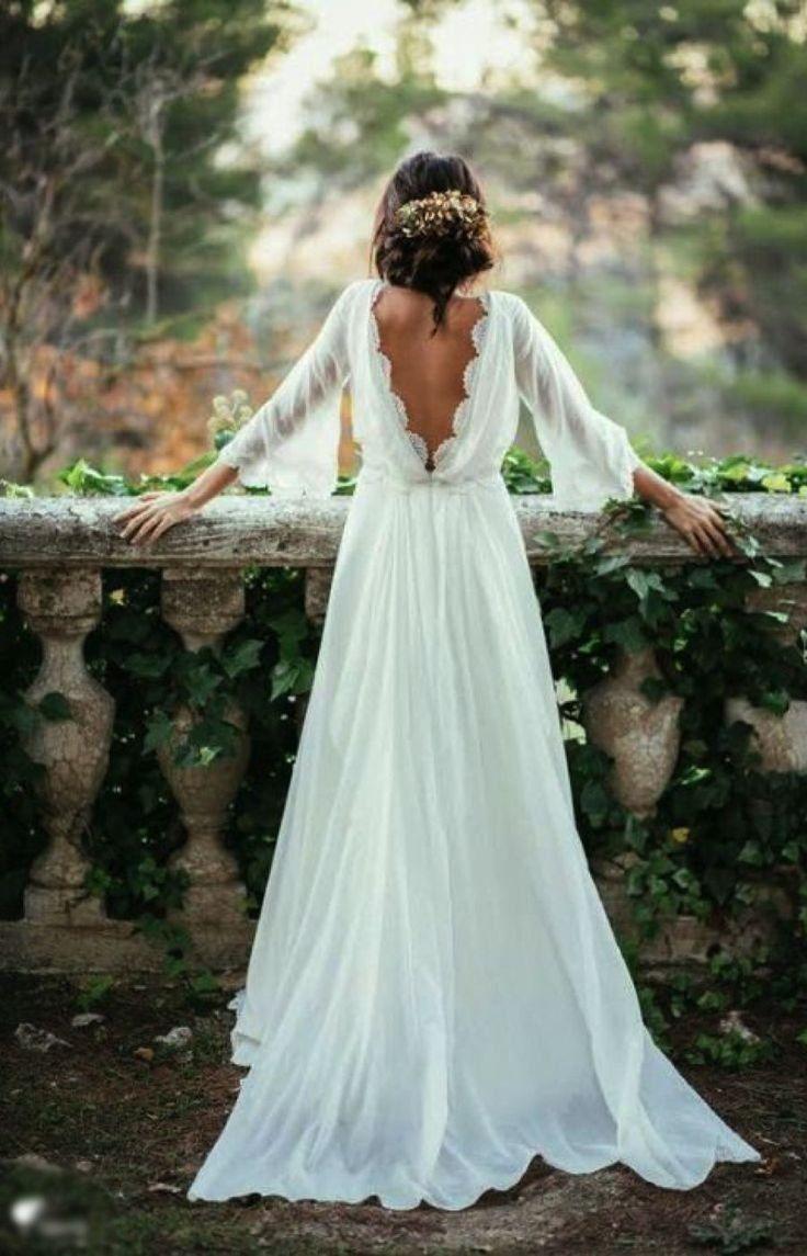 Sexy Ivory Lace 3/4 Long Sleeve Backless Bohemian Wedding Dress