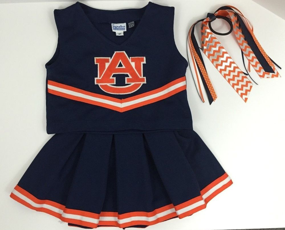 ab455e2addd Auburn Cheerleader Outfit 3 Pieces Shirt Skirt Bow Size 3T Costume War  Eagle