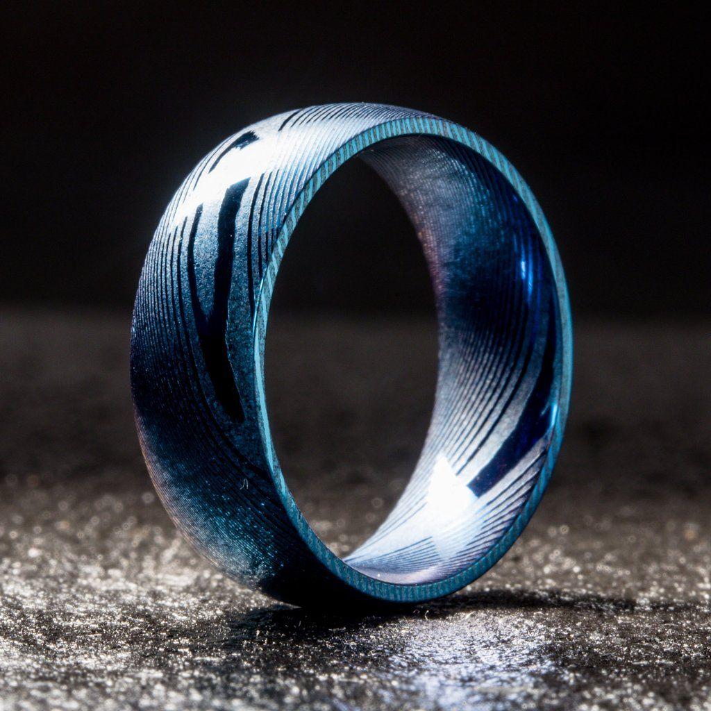 Wood Grain Damascus Steel Ring Cobalt Blue Minimalist