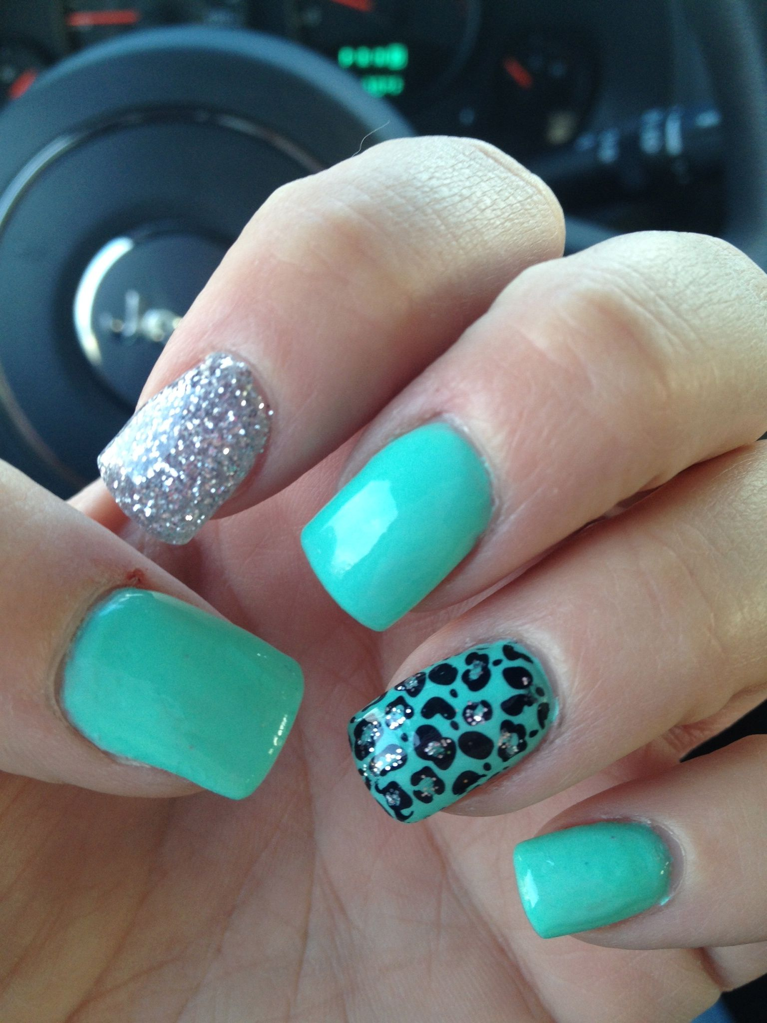 Gel Nails Mint Green With A Flare Nails Nail Polish Art Designs Gel Nails