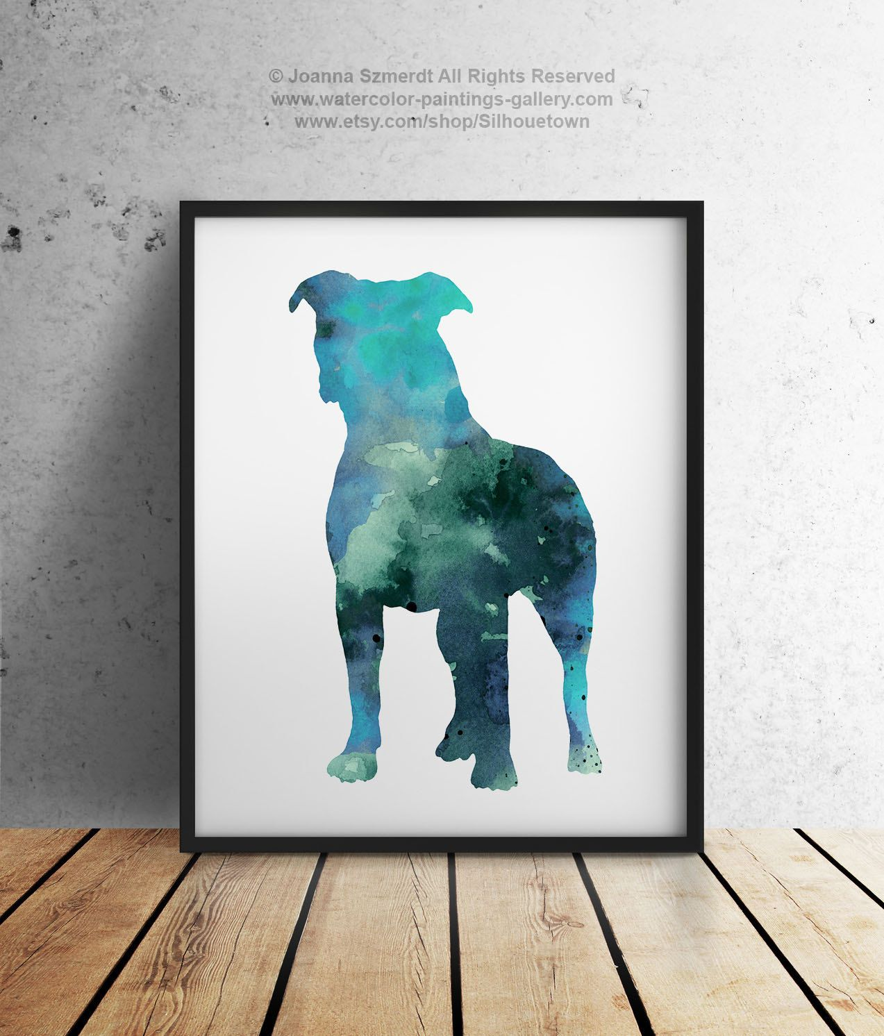 Pitbull Wall Art blue pitbull silhouette gift idea abstract kids room dog wall art