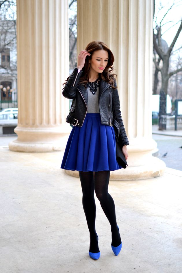 877ad52d468 Touch of Royal Blue. Love the leather jacket. No black tights ...