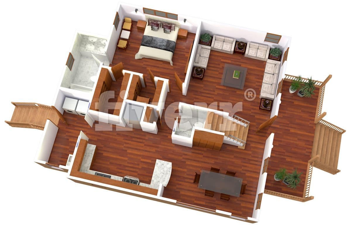 stylearch I will create 3d floor plan and interior