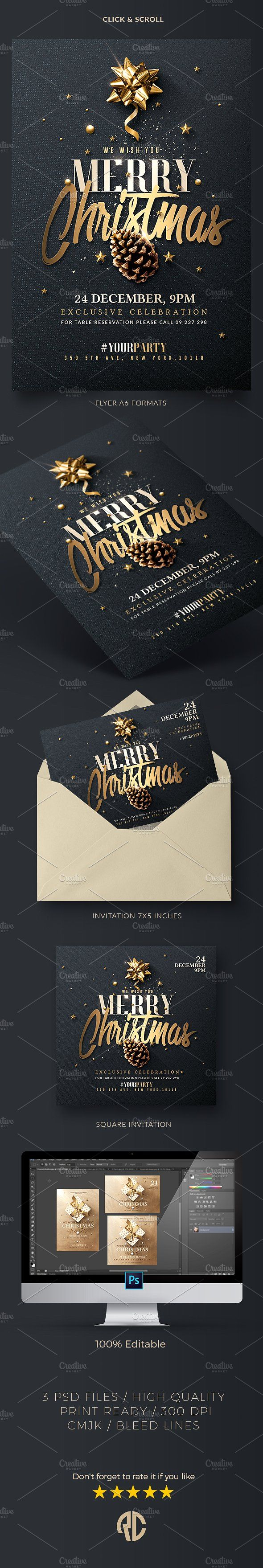 Christmas invitation psd package v3 graphic design layout christmas invitation psd package creative package perfect to promote your classy christmas stopboris Images