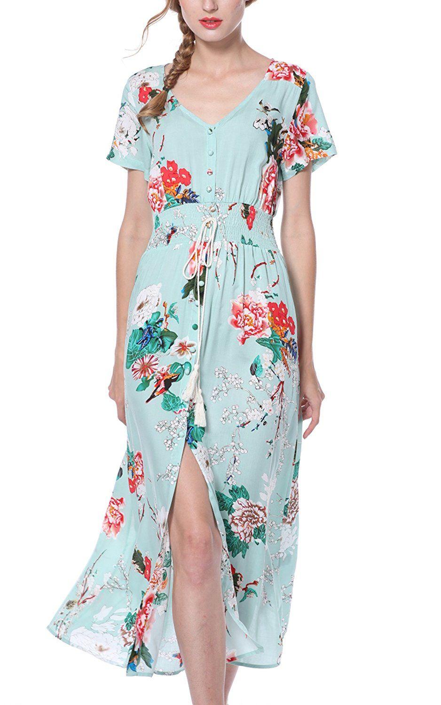 929888089398f1 ARANEE Women s Button Up Split Floral Print Long Maxi Boho Bohemian Dress