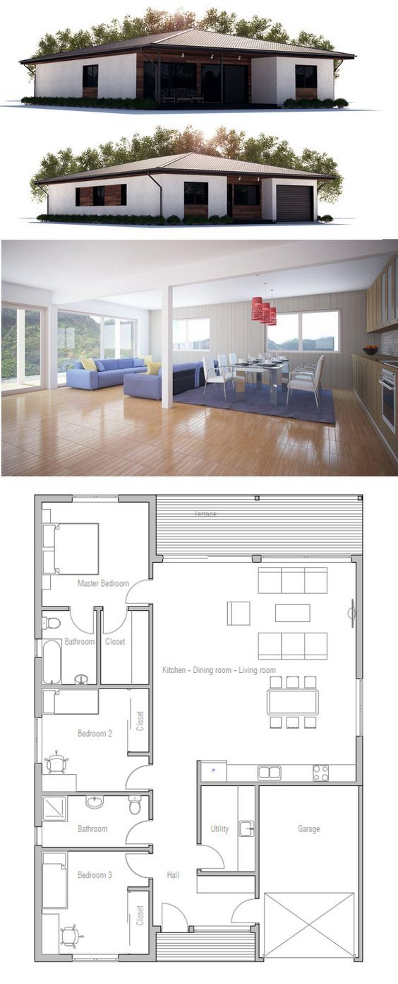149m² - 3 chambres - Plain pieds Plan de maison Pinterest