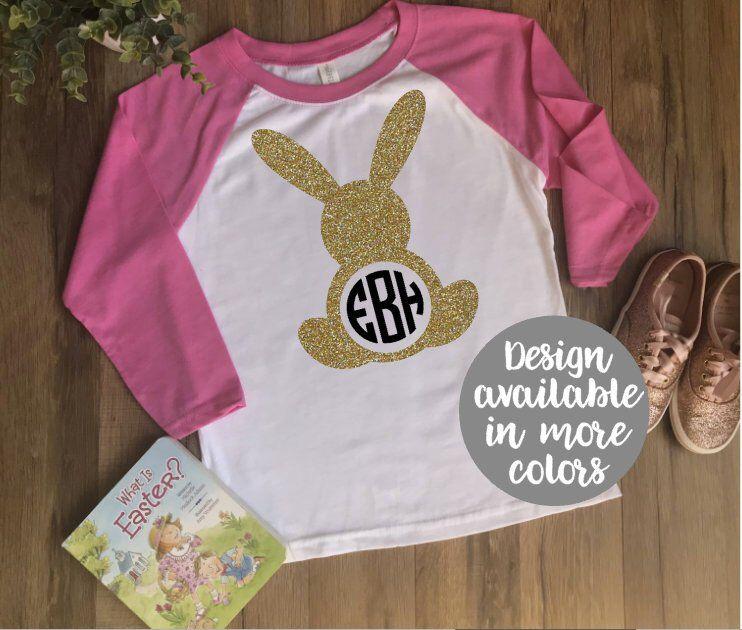 8038b52db3755 Girls Monogram Easter Shirt | Monogrammed Bunny Shirt | Kids Easter ...