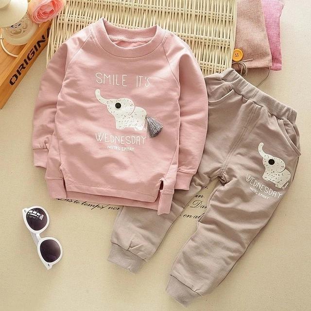 LZH Toddler Baby Boys 2Pcs Long Sleeve Clothes Set Elephant Print Infant Tops Pants Cotton Outfits Sweatsuit