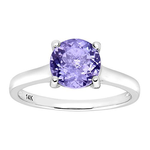 2 3/8 ct Natural Tanzanite Ring with Diamonds in 14K White Gold