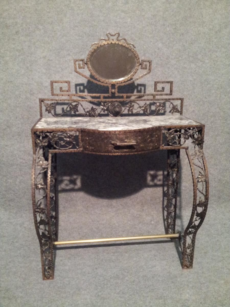 Dressing Table Artdeco In Wrought Iron With Vine Leaves Decor