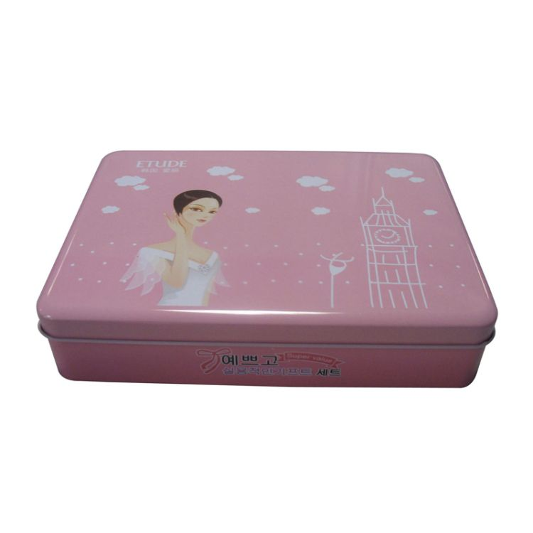 This cosmetic tin box is made of 0 23mm standard tin plate, with